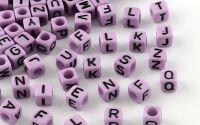 500buc margele litere alfabet cub DarkOrchid 6mm