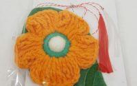 Brosa - Martisor floare crosetata - portocaliu