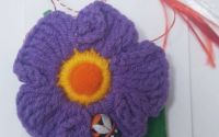 Brosa - Martisor floare crosetata - mov