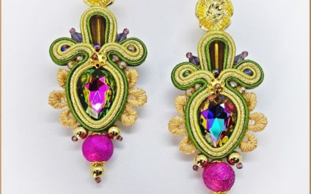 "Cercei soutache ""Japan flower"""