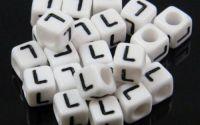 6mm margele plastic alfabet litera L cub 100buc