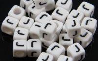 6mm margele plastic alfabet litera J cub 100buc