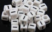 6mm margele plastic alfabet litera I cub 100buc