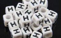 6mm margele plastic alfabet litera H cub 100buc