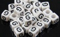 6mm margele plastic alfabet litera G cub 100buc