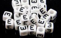 6mm margele plastic alfabet litera E cub 100buc