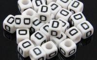 6mm margele plastic alfabet litera D cub 100buc