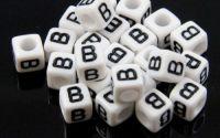 6mm margele plastic alfabet litera B cub 100buc