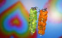 Cercei ursulet- verde si portocaliu