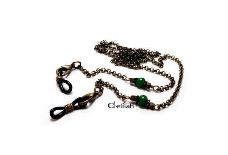 Lant pentru ochelari bronz si jad verde