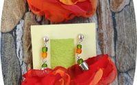 set floral portocaliu - corai