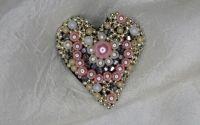 Brosa Pink Heart realizata manual unicat
