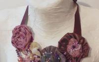 Colier textil satin matase mov flori cadou