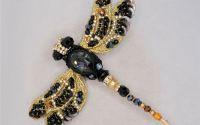 brosa libelula negru auriu 3D Swarovski handmade