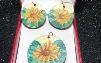 Set bijuterii pictate manual floarea soarelui