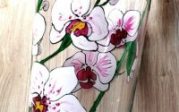 Vaza sticla pictata orhidee