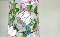 Vaza sticla pictata magnolie