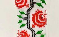 Vaza sticla pictata traditional trandafiri