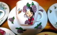 Set cafea fete flori