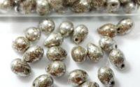 10 Margele sticla Cehia picatura 5 x 7 mm Silver