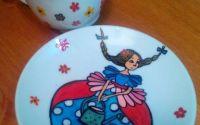 Ceasca cafea pictata fata cu codite