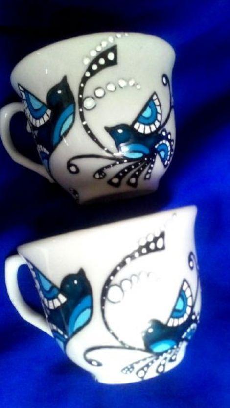Set cafea pictat pasari albastre