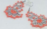 Cercei argintiu cu portocaliu din dantela frivolit