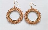 Cercei hoops - cream and gold