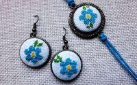 Set bijuterii Floricele albastre