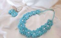 Colier bleu-turcoaz cu perle