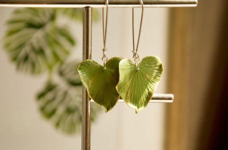 Cercei verzi eleganti frunza inima argint