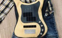 Rucsac galben chitara bass pentru copii