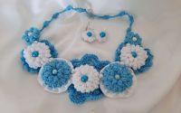 Colier handmade elegant alb-albastru