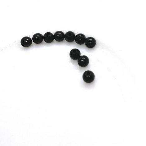 10 buc  Margele glazurate sticla 7.58mm  negru