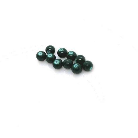 10 buc  Margele glazurate sticla 7.58mm verde