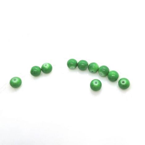 1buc  Margele glazurate  sticla 7.58mm  verde