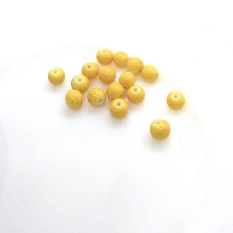 10 buc! Cu defecte Margele glazurate 8mm galben