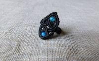 Inel negru cu piatra agate.