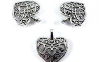 Charm argintiu antichizat inima 16 mm