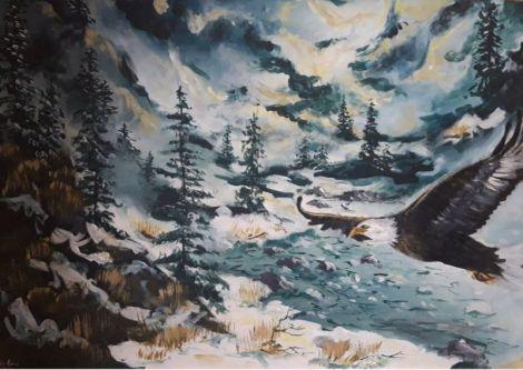 """Tablou cu vultur iarna """" Eliberare"""""""