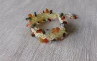 Bratara beige cu chipsuri agate multicolore.