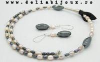 Set de bijuterii perle de cultura hematit