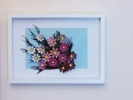 Tablou Quilling-Flori Cosmos Roz