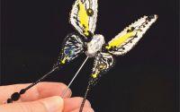 brosa fluture 3D cristale Swarovski handmade
