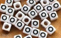7mm margele albe alfabet litera O cub 100buc