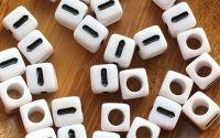 7mm margele albe alfabet litera I cub 100buc