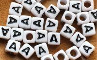 7mm margele albe alfabet litera A cub 100buc