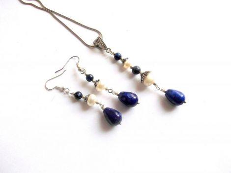 set lapis lazuli si perle natural