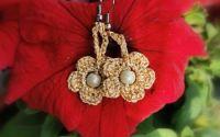 Cercei glitter flower