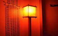 Lampa picior lemn lucrata manual